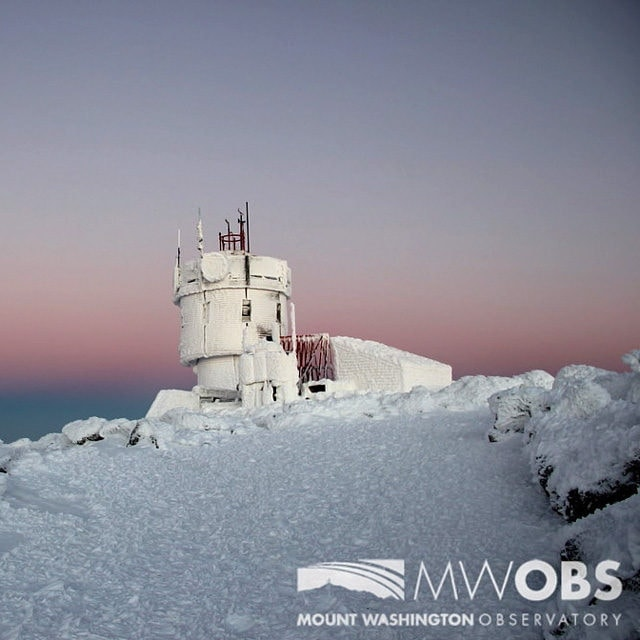 Dawn on the summit of Mount Washington, New Hampshire.