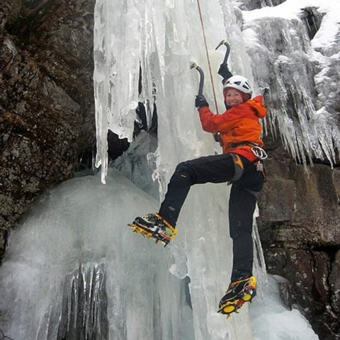Steep ice climbing instruction at Trollville in Jackson, New Hampshire.