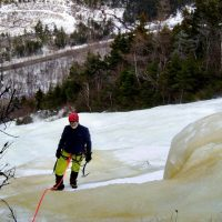 Ice climbing on one of the Grafton Notch slabs. Photo by Robert Hall.