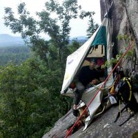 Portaledge setup while aid and big wall climbing on Cathedral Ledge, New Hampshire.
