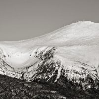 View of Mount Washington showing common summit ascent routes such as Tuckerman Ravine and Lion Head trail.