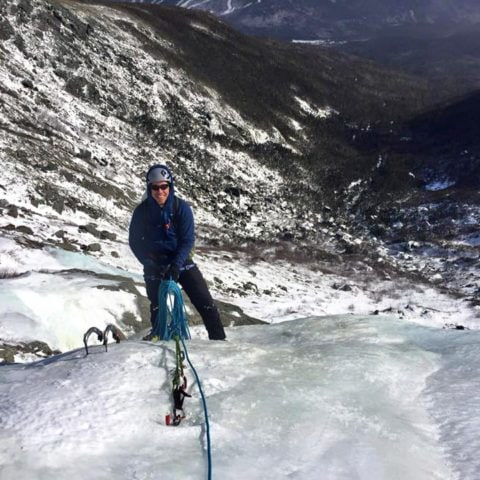 Snow and ice climbing in Huntington Ravine on Mount Washington, New Hampshire.