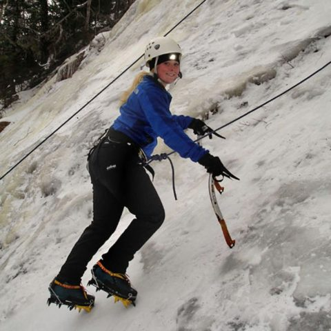 Learning to ice climb in New Hampshire with Synnott Mountain Guides.